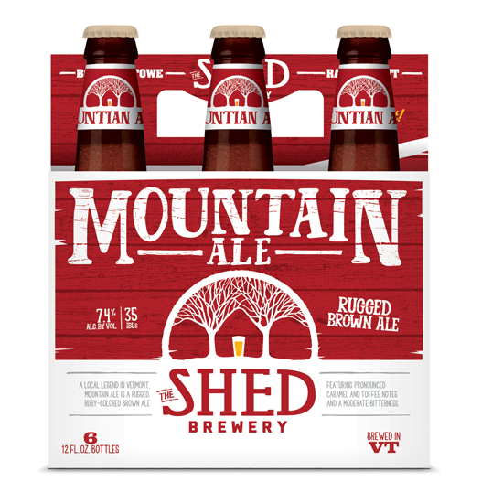 6-pack 12oz. glass bottles of Shed Mountain Ale